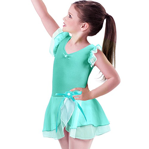 IBTOM CASTLE Kids Little Girls' Gymnastic Ballet Dance Tutu Dress Leotard Skirt Princess Dancewear Costume Turquoise 3-4]()
