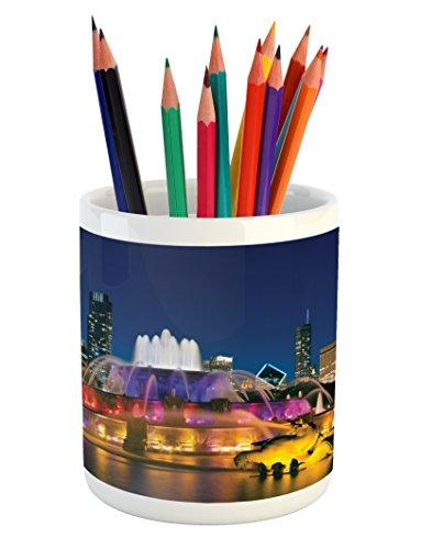 Ambesonne Chicago Skyline Pencil Pen Holder, Buckingham Fountain Landmark in The Center of Grant Park Vibrant Night, Printed Ceramic Pencil Pen Holder for Desk Office Accessory, Multicolor