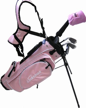 Linksman Golf 3-5 Year Old Girls Right Handed Junior Set w/ Pink Stand Bag, Outdoor Stuffs