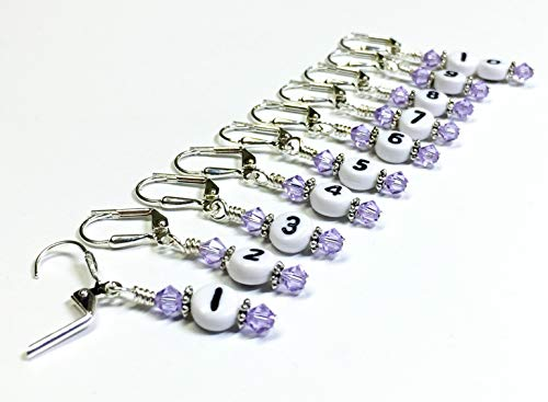 Numbered Stitch Marker Jewelry Set- Lilac