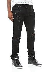 Copper Rivet Men's Damage & Repair Skinny Biker Denim Jeans-Sand Blue-29/30
