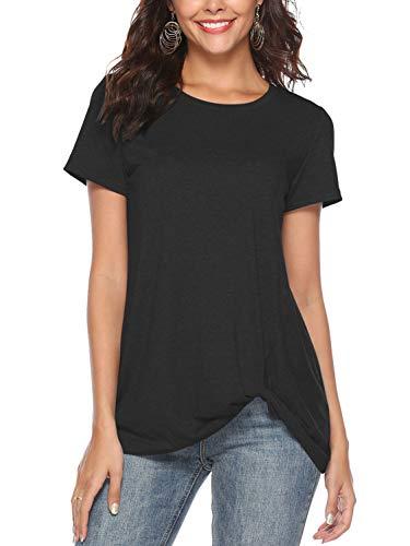 Col Twist Ete Noué Noir Amoretu Shirt Blouse Manches Courtes Hauts Rond Tops Femmes Tuniques qqtpA0z