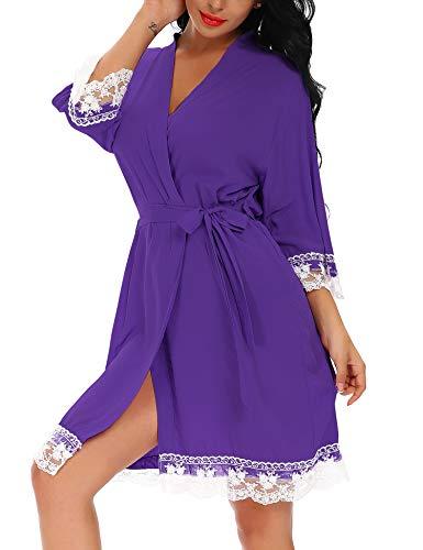 FISOUL Women's 3/4 Sleeve Short Sleepwear Modal Cotton Knit Robe-Lace Trim (Purple L)