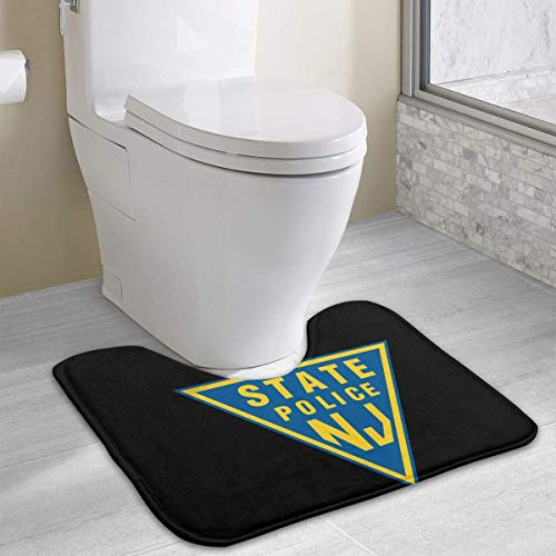 NJ State Police Toilet Carpet Anti-Slip Contour Bath Rug Carpet Mat for Toilet 19.2″x15.7″