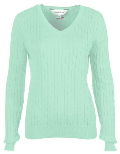 Nantucket Brand Clothing Women's Cotton Cable Knit V-Neck Sweater, Honey Dew Green, M Pima Cotton Cable