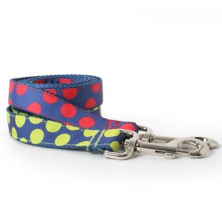 Two Tone Dots On Blue Dog Leash--RED