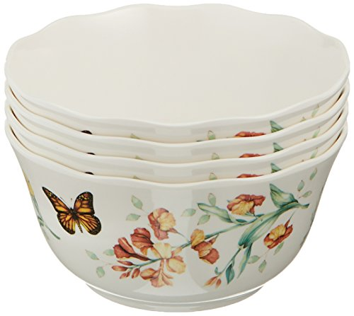 Lenox 856406 Butterfly Meadow Melamine All All Purpose Bowls, 16 Ounces, White
