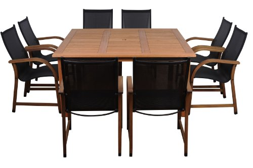 Amazonia Bahamas 9-Piece Eucalyptus Square Dining Set (For Sets 8 Outdoor Dining)