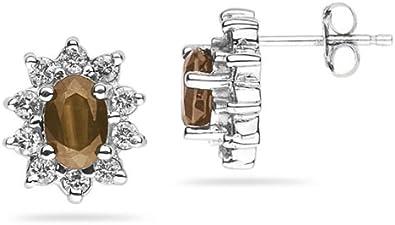 6x 4mm ovalado Smokey cuarzo y diamante flor Pendientes en 14K oro blanco