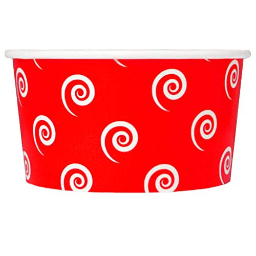 Red Paper Ice Cream Cups - 6 oz Swirls And Twirls Dessert Bowls - Comes In Many Colors & Sizes! Frozen Dessert Supplies - Fast Shipping! 1,000 - 6 Swirl Cup