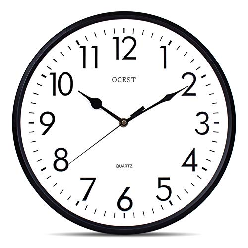 - OCEST 12-1/2 Inch Outdoor Indoor Clock Large Display Non-Ticking & Silent Decorative 3D Wall Clocks for Garden Pool Patio Kitchen Living Room Bedroom Office School Round Clocks Battery Operated