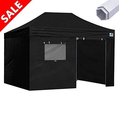 Eurmax Premium 10x15 Pop up Canopy Instant Canopies Outdoor Party Tent Shade with 4 Removable Enclosure Zipper End Sidewalls Walls and Roller Bag (Black)