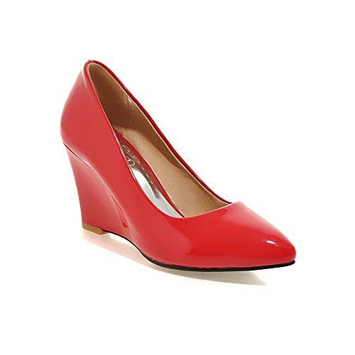 AgooLar Damen Hoher Absatz Rein Ziehen auf Lackleder Spitz Zehe Pumps Schuhe Rot