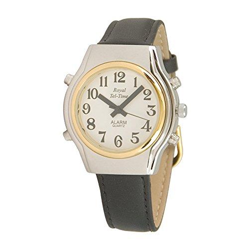 (Mens Spanish Royal Tel-Time Bi-Color Talking Watch- Leather)