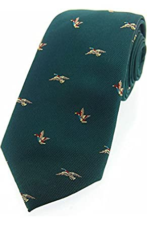 Soprano In Grün Luxus Seide Country Seidenkrawatte Mit Fliegende Enten  Schmücken Die Krawatte