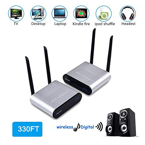 measy AU680 Wireless Digital Audio Transmitter Sender & Receiver Adapter for HiFi Home Theater System Speaker Amplifier/Cellphone/TV/MP3/Earphone
