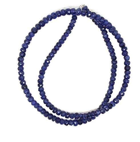 Beads Bazar Natural Beautiful jewellery Natural Gemstone Blue Sapphire Faceted 4.5 to 5.5 MM Rondelle Beads 18 Inch Full Strand AAA Quality Finished NecklaceCode:- NY-107   B07L1WBHPW
