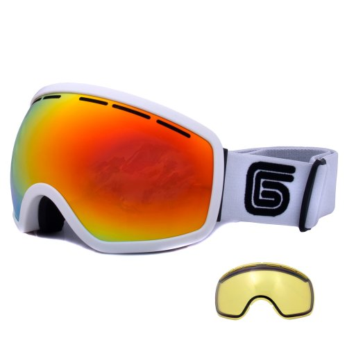Grayne Whiteout MTN Ski Snowboard Goggle with Pyro Anti-Fog Lens and Extra Yellow Low-Light Lens by Grayne