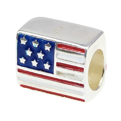 Beads Hunter Jewelry Patriotic Proud to Be American Flag Bead .925 Sterling Silver Bead Charm