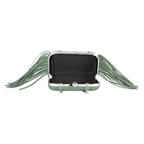 PAINT Women Printed Leather Long fringes Python skin clutch in Mint Color(PT2...