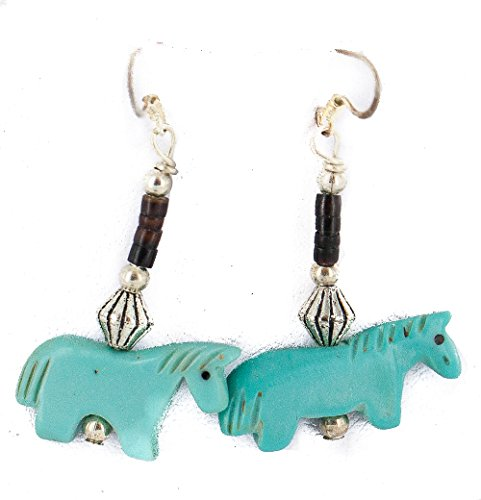 $80Tag Fetish Horse Silver Hooks Certified Navajo Resin Dangle Earrings 18290-5 Made By Loma Siiva