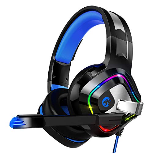 ZIUMIER Gaming Headset PS4 Headset, Xbox One Headset with Noise Canceling Mic & RGB Light, PC Headset with Stereo Surround Sound, Over Ear Headphones for PC, PS4, Xbox One, Laptop (Inside Mic)