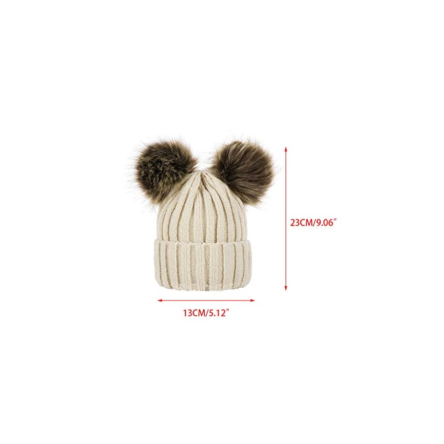 Jesse Baby Thickened Ribbed Faux Fox Fur Knitted Hat, Solid Color Double Pompom Cuffed Beanie Cap Ski Cap