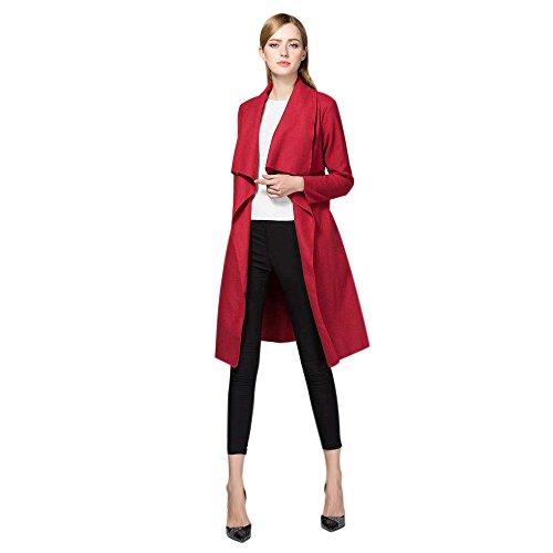 ESAILQ Mujeres Otoño Slim Camisa de manga larga Trench Windbreaker Cardigan Coats Rojo