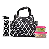 Fit & Fresh Westport Insulated Lunch Bag Cooler Bag Tote Bag Kit for Women/Work/Picnic/Beach/Sporting Event, Reusable Containers, Water Bottle, Black & White Ikat Tile
