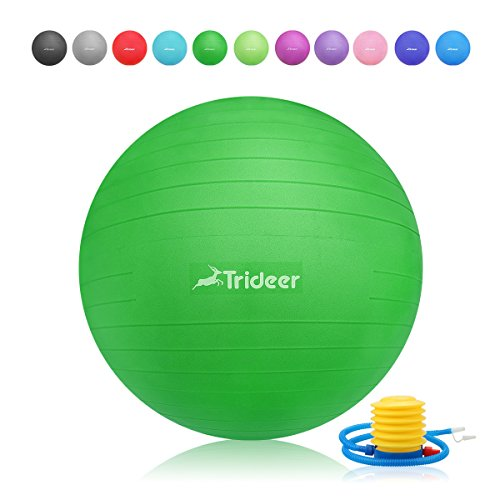 Exercise Ball, Yoga Ball, Birthing Ball with Quick Pump, Anti-Burst & Extra Thick, Heavy Duty Ball Chair 45cm 55cm 65cm 75cm 85cm Stability Ball Supports 2200lbs (Office&Home) (Lime, 45cm) by Trideer