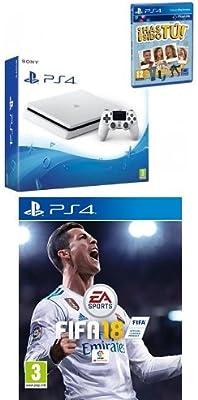 PlayStation 4 (PS4) - Consola De 500 GB, Color Blanco + Voucher ¡Has Sido Tú! + FIFA 18 - Edición estándar: Amazon.es: Videojuegos