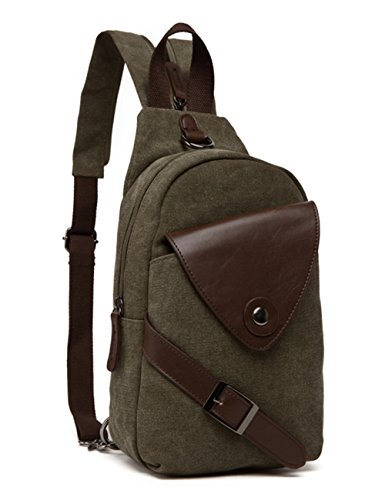Body Bag Backpack Purse (Aidonger Body Purse Chest Bag Bodybag Canvas and Leather Messenger Bag (Army green))