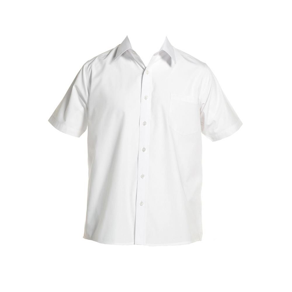 Short Sleeve Boys Shirt 11-17.5in Collar Generous Cut White / Blue