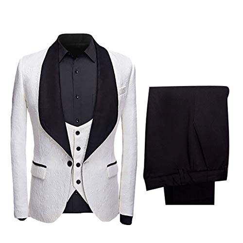 YFFUSHI Men's Elegant Jacquard 3 Piece Suit Slim Fit Royal Blue Tuxedo