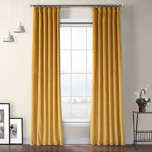 VPYC-179760-96 Heritage Plush Velvet Curtain, 50 x 96, Aztec Gold