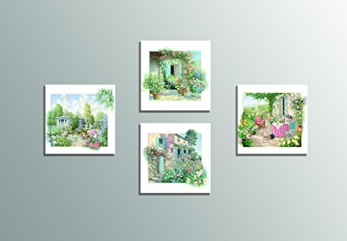 HLJ Arts 4 Panels Giclee Pastoral Scenery Theme Colorful Garden Flowers Photograph Printed Paintings on Canvas for Wall Decor 12x12inches 4pcs/set (Multi)