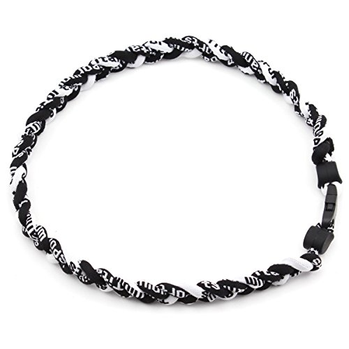 Twisted 2 Rope Braided Titanium Ionic Sports Bracelet Baseball Bracelet (Black/White, 8inch)