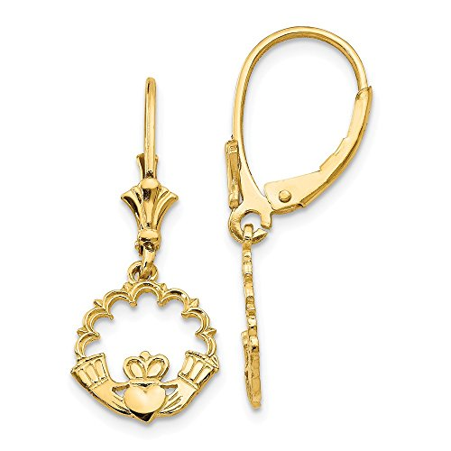 14k Yellow Gold Irish Claddagh Celtic Knot In Circle Leverback Earrings Lever Back Drop Dangle Fine Jewelry Gifts For Women For Her