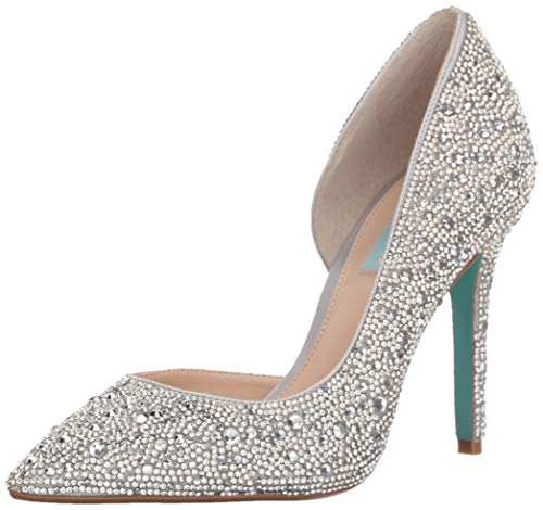 Blue by Betsey Johnson Women's SB-HAZIL Pump, Silver Satin, 7 M US Betsey Johnson Womens Shoes