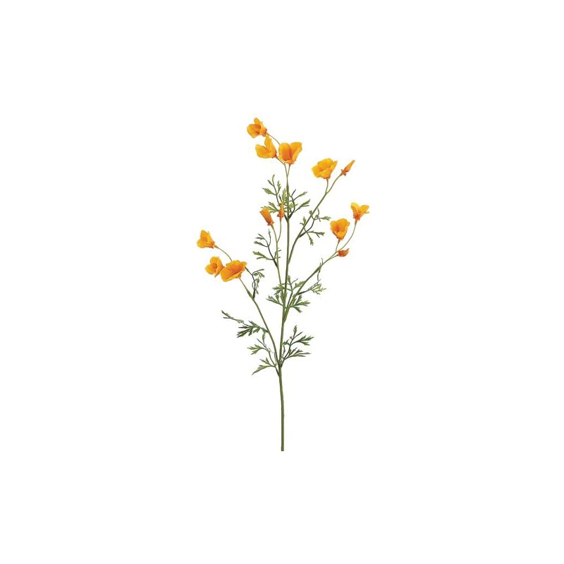 "silk flower arrangements 26"" mini california poppy spray yellow (pack of 12)"