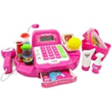 PowerTRC® Pink Supermarket Cash Register with Turntable, Barcode Scanner, Weight Scale, Microphone, Calculator, Play Money and Food Shopping Playset for kids