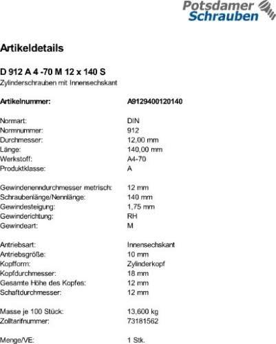 1 Edelstahl V4A Innensechskant Zylinderkopfschrauben DIN 912 A4-70 M12x140
