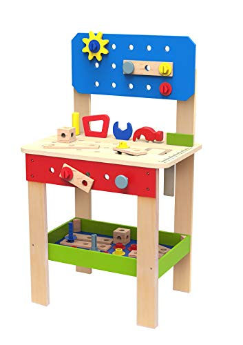 TOYSTER'S Wooden Tool Set and Workbench Station for Toddlers | Standup Work Shop Construction Work Bench Playset | Educational Learning Building Play Toys for - Wooden Bench Station