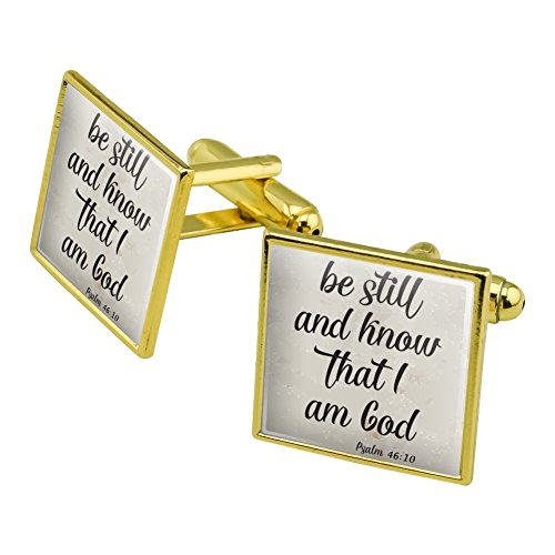 Be Still and Know that I am God Psalm Inspirational Christian Square Cufflink Set Gold Color