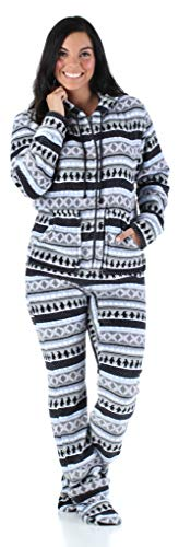 SleepytimePjs Women's Sleepwear Fleece Hooded Footed Onesie Pajamas Grey Penguin Fair Isle – (ST17-W-3030-XS)