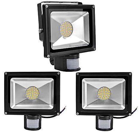 3X 30W SMD Foco LED con Sensor Movimiento,Proyector LED Exterior,Blanco Calido con
