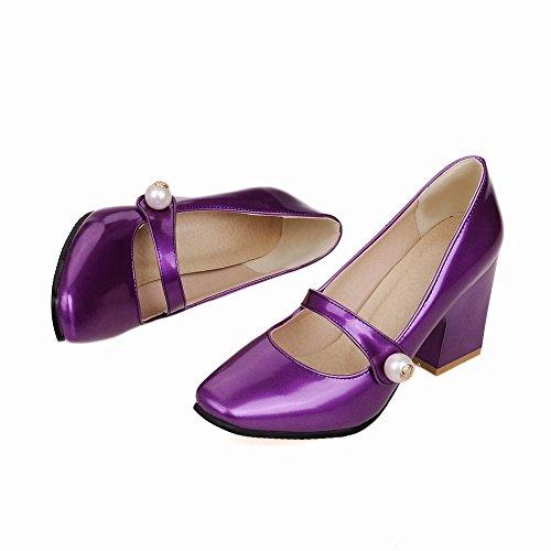 Latasa Kvinna Mode Syntetiskt Patent Läder Fyrkantiga-tå Chunky Mid Häl Pumpar Skor Lila