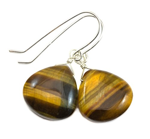 (Sterling Silver Tiger's Eye Earrings Smooth Heart Shaped Cut Golden Striped Briolette Drops)