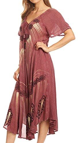 Short Print Everyday LIDA Block Summer Burgandy with Dress Relaxed Womens amp; Sleeves Sakkas 1xPdEw00