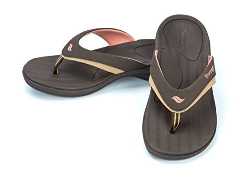 Powerstep Women's Fusion Flip-Flop Sandals – Orthotic Sandal with Built-in Arch Support for Plantar Fasciitis and Flat Feet,Brown,Women's Size 7 Regular US (Bone Light Footwear)